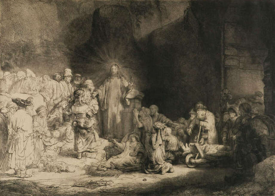 "Rembrandt van Rijn, Dutch, 1606–1669; ""Christ Preaching"" (""The Hundred Guilder Print""), 1648; etching, drypoint, and engraving on Japanese paper; image: 11 1/16 × 15 7/16 inches; Mark S. Weil Artwork 2011 Irrevocable Trust, Promised gift of Phoebe Dent Weil and Mark S. Weil"