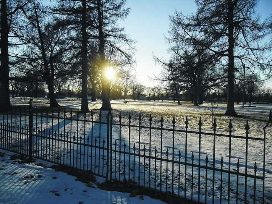 Morning greets a quiet and wintry Community Park.