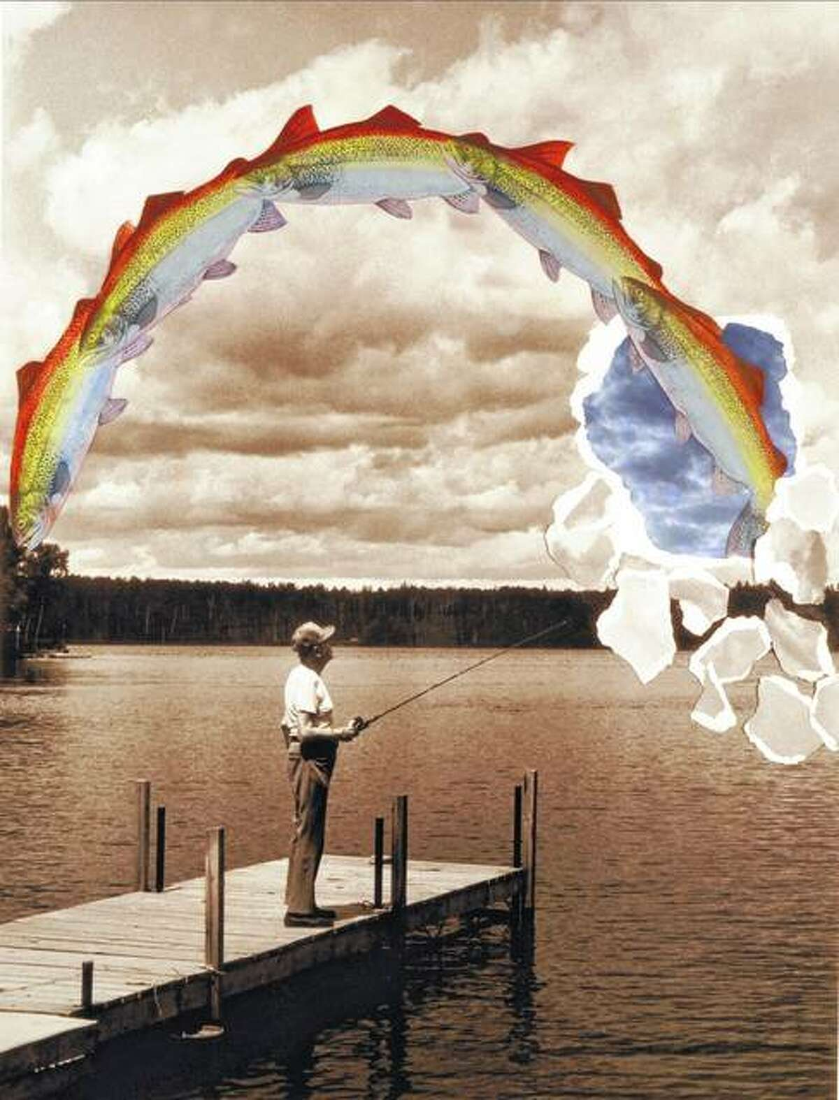 A photo of artist Lou Zale's father-in-law features the man fishing for rainbow trout in Minnesota. Zale put his own spin on the finished image.