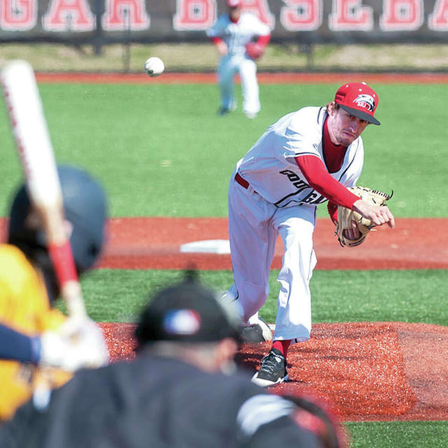 SIUE starter Brock Fulkerson delivers to the plate in action Friday against Murray State University at SIUE. Fulkerson went six innings, allowed three hits, two runs, struck out eight and walked one, but was not involved the decision in SIUE's 6-5 victory. Photo: SIUE Athletics