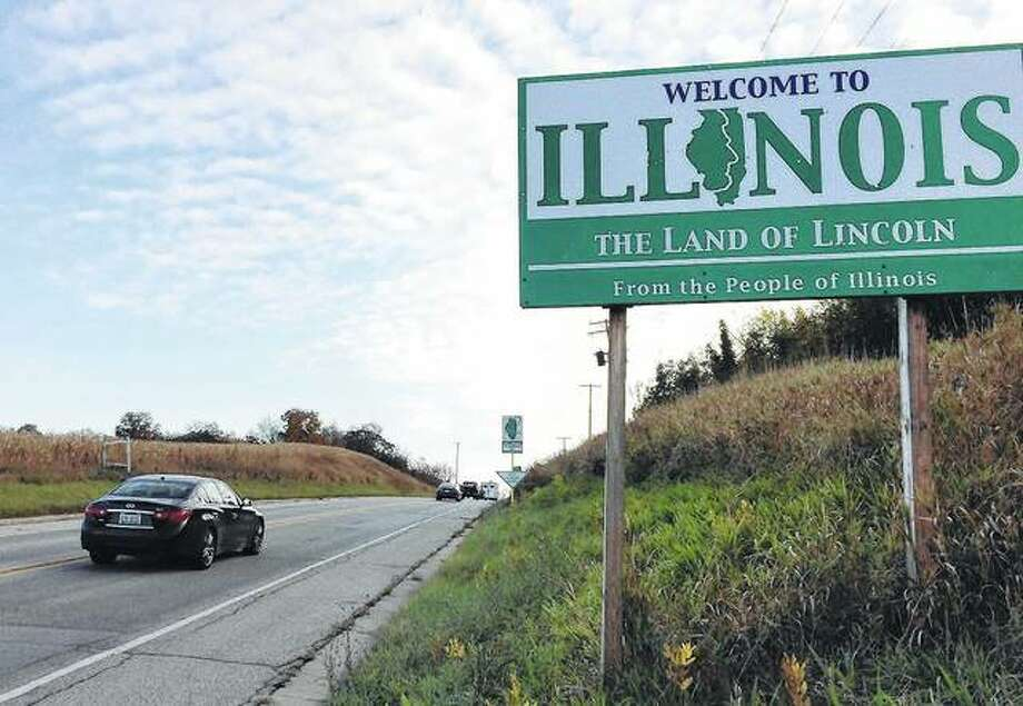 "The sign says ""Welcome to Illinois,"" but it would still be Wisconsin if not for some maneuvering 200 years ago to move Illinois's boundary northward. Photo: Mick Zawislak 