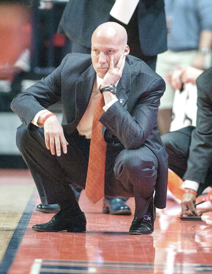 A 37-53 Big Ten record, coupled with four straight non-NCAA seasons, has put Illini basketball coach John Groce's future in jeopardy. Photo: File Photo