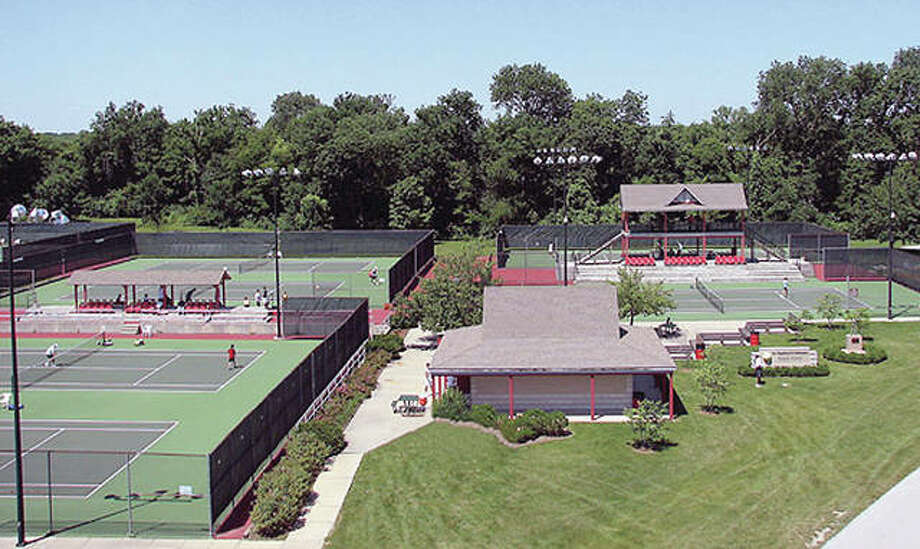 The Bud Simpson Tennis Complex was built in 1991 in Gordon Moore Park. A fundraiser is set March 31 at Bluff City Grill in Alton to raise funds for repair of the courts at the complex, which are in need of repair. Photo: File Photo