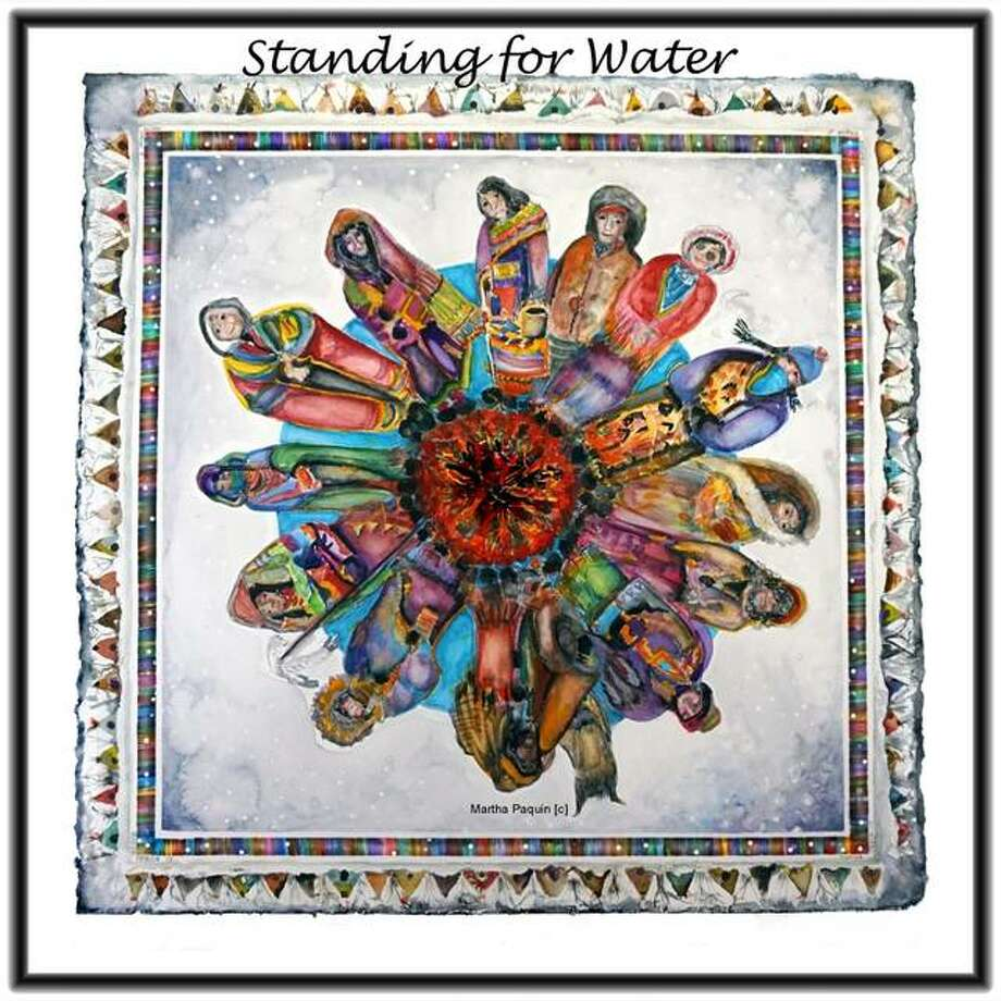 "Part-time Alton resident Martha Paquin meticulously created her ""Standing for Water"" painting to bring awareness to issues surrounding the Dakota Access Pipeline. An image of Paquin's painting is available via her Facebook page where anyone interested can use the image to print on T-shirts for personal wear or for fundraising purposes. Photo: Submitted Photo
