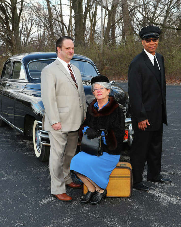 "Photo credit Pete Basola|For The Telegraph Diana Enloe, Jared Hennings and Steven Harders star in ""Driving Miss Daisy,"" opening March 24 at Alton Little Theater. A restored 1948 Packard owned by Dit Panfile replicates the one owned by the production's fictitious Werthan family. Photos and historical documents will be on display in the Dorothy Colonius foyer at Alton Little Theater during the run of the play."