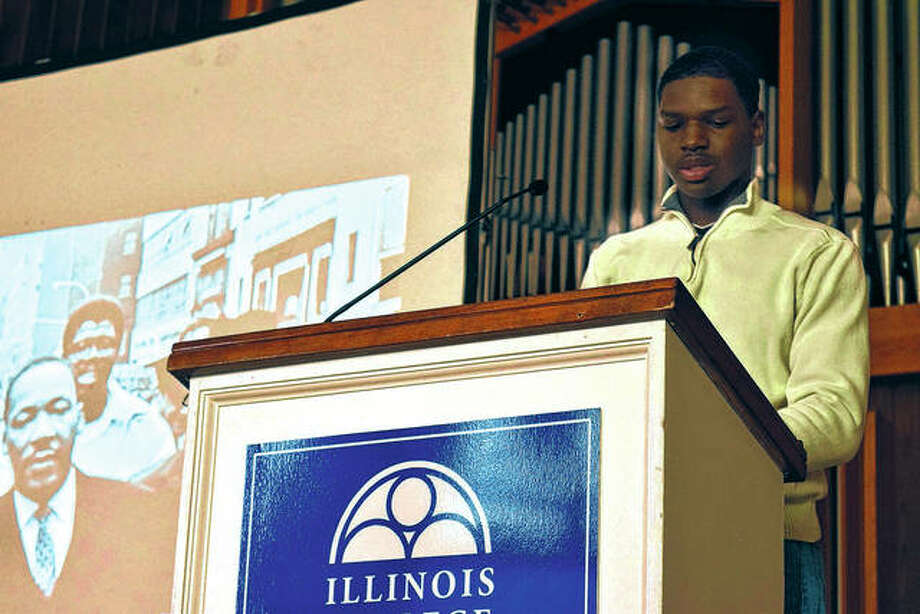 Andre Hester, an Illinois College freshman from Champaign, speaks Wednesday at a Martin Luther King Jr. Week event. Photo: Nick Draper | Journal-Courier
