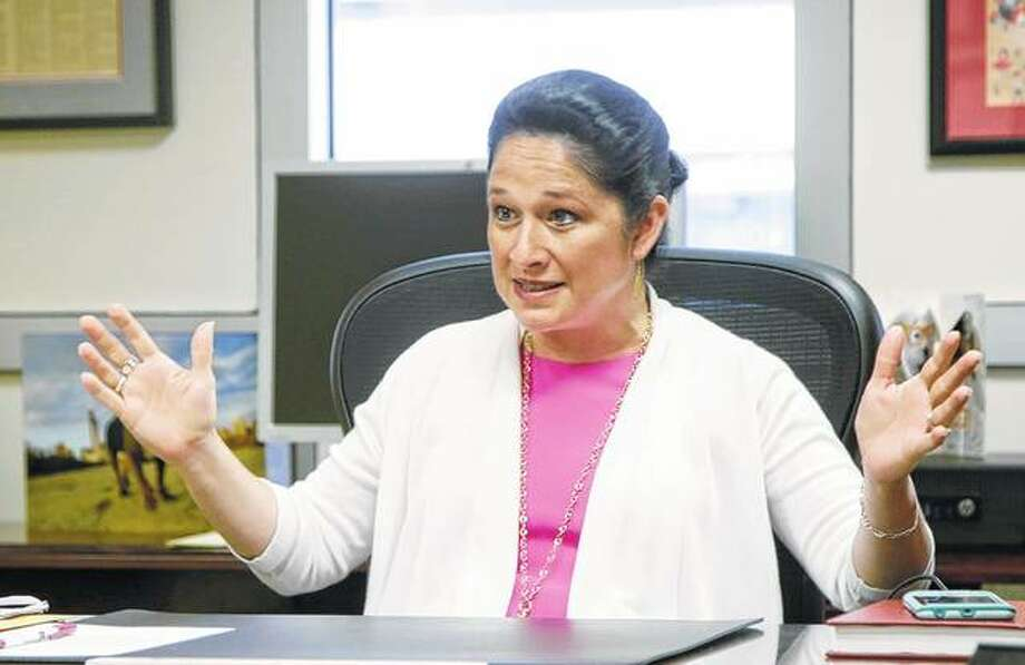 Illinois Comptroller Susana Mendoza speaks during an interview in June in Chicago. Failure to pay debts on time has cost Illinois $1 billion in late-payment penalties. The debt-transparency report Monday also shows that, in addition to the backlog, there's roughly $2.3 billion the General Assembly never approved spending. Photo: G-Jun Yam | Associated Press