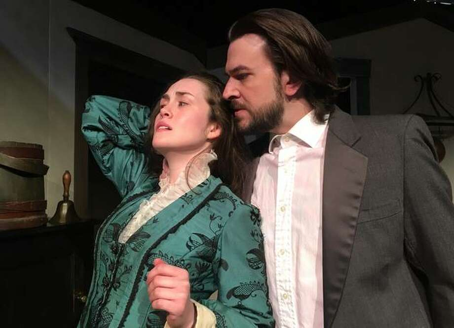 "Léerin Campbell as Miss Julie, and Jason Contini as Jean, in the upcoming production of ""Miss Julie,"" opening Thursday, March 30. The production is presented by Bankside Repertory Theatre Co. at Jacoby Arts Center. Photo: For The Telegraph"