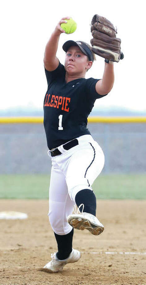 Gillespie's Addison Bryant delivers a pitch to the plate against the Edwardsville Tigers on Monday in Gillespie. The loss to the Tigers is the lone blemish in a 3-1 start for a Miners team with high expectations after posting a 31-4 record in 2016. Photo: Billy Hurst / For The Telegraph