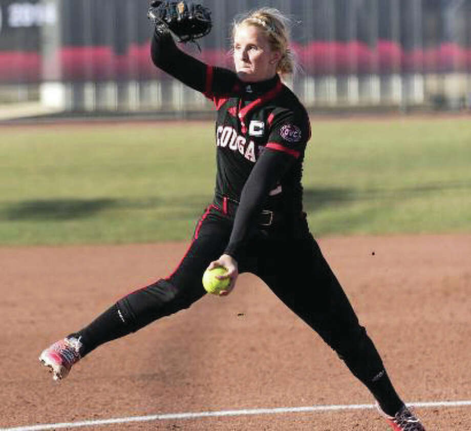 SIUE pitcher Haley Chambers-Book fired a no-hitter against Tennessee State Friday, sparking the Cougars to a twinbill sweep in Edwardsville. Photo: SIUE Athletics