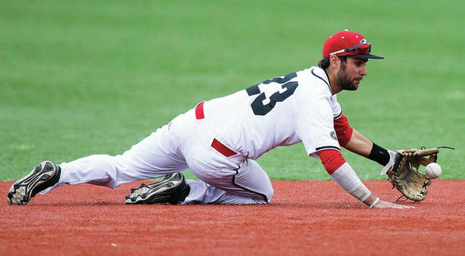 SIUE shortstop Mario Tursi extends to field a groundball during the Cougars' Ohio Valley Conference victory over Southeast Missouri on Sunday at Roy Lee Field in Edwardsville. Photo: SIUE Athletics