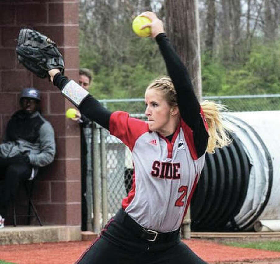 SIUE senior Haley Chambers-Book pitches during her complete-game win in the first game of the Cougars' doubleheaders split with Belmont on Sunday at Cougar Field in Edwardsville. Photo: SIUE Athletics