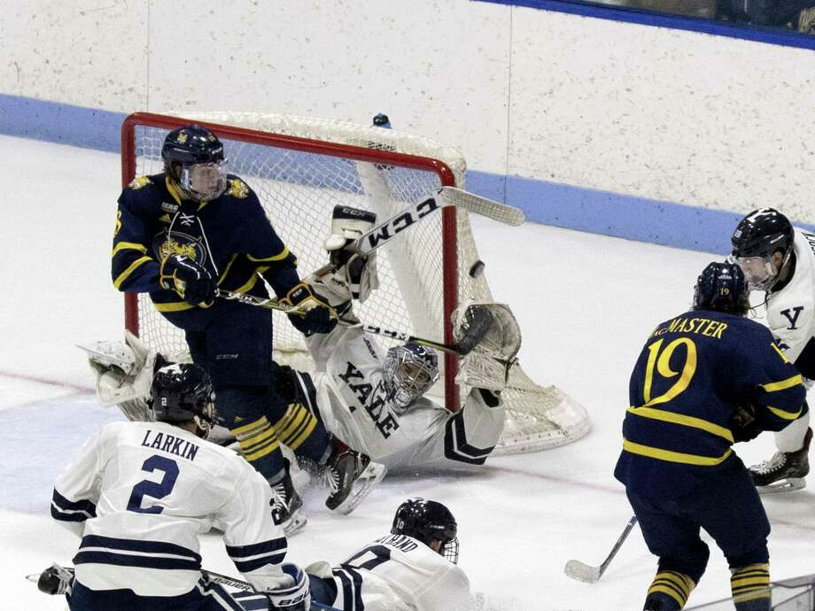 Yale goalie Sam Tucker makes a save in the third period against Quinnipiac on Friday. Photo: Steven Musco / Yale Athletics / Steve Musco - 2018
