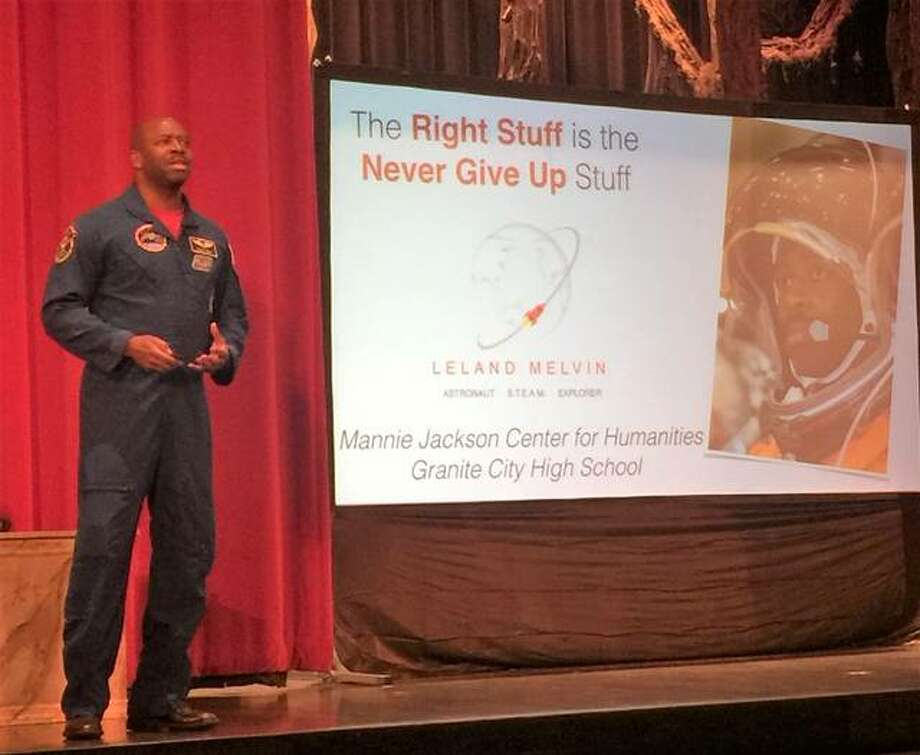"""Former NFL player turned NASA Astronaut Leland Melvin speaks to Granite City, Venice and Madison students during his """"The Right Stuff is the Never Give Up Stuff"""" presentation Wednesday. Photo: Brittany Johnson 