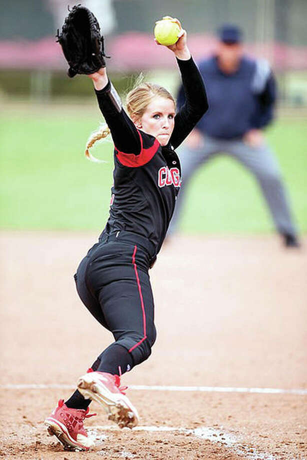 SIUE pitcher Haley Chambers-Book scattered four hits, struck out 11 and walked three in her team's 4-0 victory over the SIUC Salukis Wednesday in Carbondale. Photo: SIUE Athletics