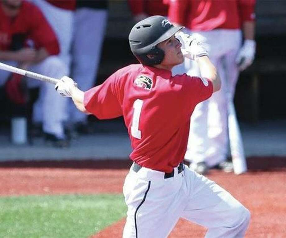 SIUE leadoff hitter Alec Skender had three hits and drove in two runs in the Cougars' 8-7 victory over the Purple Aces on Wednesday night in Evansville, Indiana. Photo: SIUE Athletics