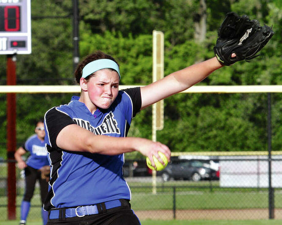 Marquette Catholic junior Meghan Schorman, shown pitching during her freshman season in 2015, shut out Calhoun while striking out 15 Saturday in Hardin. Photo: Telegraph File Photo