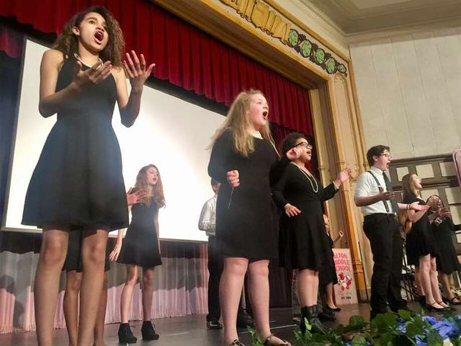 Alton Middle School students showcased their many talents in performances honoring some of the United States' most inspiring leaders Friday morning. Photo: For The Telegraph