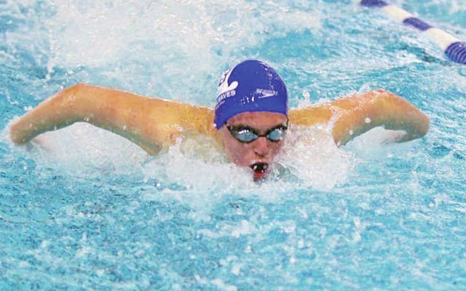 Matt Daniel of the Tri City Area YMCA Tidalwaves competes in the men's 100-yard butterfly prelims Tuesday at the YMCA Short Course Nationals Championships in Greensboro, North Carolina. Daniel finished 47th in a personal-best time of 51.78 seconds. Photo: Submitted Photo