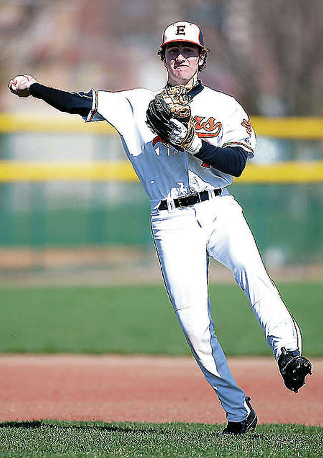Edwardsville pitcher Kade Burns took a no-hitter to the seventh inning in his team's 2-0 win over Alton Tuesday at Tom Pile Field. He's shown in action as an infielder last season. Photo: Scott Kane File Photo | For The Telegraph