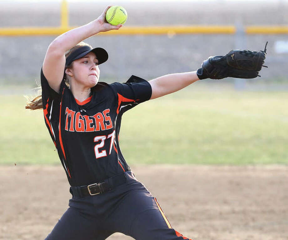 Edwardsville's Meghan Gorniak, shown pitching during a Tigers victory March 20 in Gillespie, turned in two innings of relief Tuesday to earn a save in Edwardsville's 3-0 Southwestern Conference softball win over the Alton Redbirds at the District 7 Sports Complex in Edwardsville. Photo: Billy Hurst / For The Telegraph