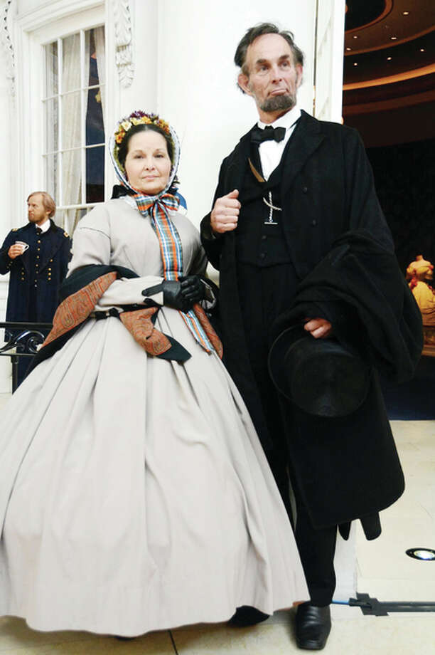 "Pam Brown and Fritz Klein are shown in character as Abraham Lincoln and his wife, Mary Todd Lincoln. The pair will be featured Saturday in ""Abe and Mary Todd Lincoln,"" a series of one-act plays written by Ken Bradbury. The performance is part of Illinois College's Fine Arts Series. Photo: Submitted Photo"