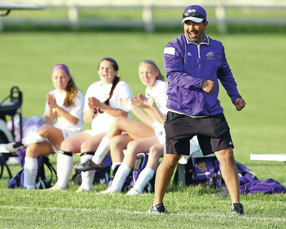 Civic Memorial head coach Eric Zyung's team fell to Mississippi Valley conference power Triad 1-0 Thursday night in a game played at McKendree University in Lebanon. Zyung is shown during an earlier game. Photo: Telegraph File Photo