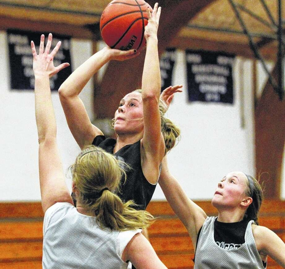 West Central's Maddie Lashmett puts up a shot during practice Thursday night at Bluffs. Photo: Dennis Mathes | Journal-Courier