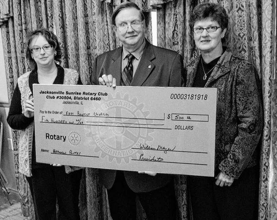 Jacksonville Sunrise Rotary Club donated $500 to the First Baptist Church Personal Needs Pantry. Pictured are Kim Runkel, pantry coordinator (from left); Bill Meyer, Sunrise Rotary president; and Barb Baker, Sunrise Rotary project coordinator. The pantry provides personal products to area people in need.