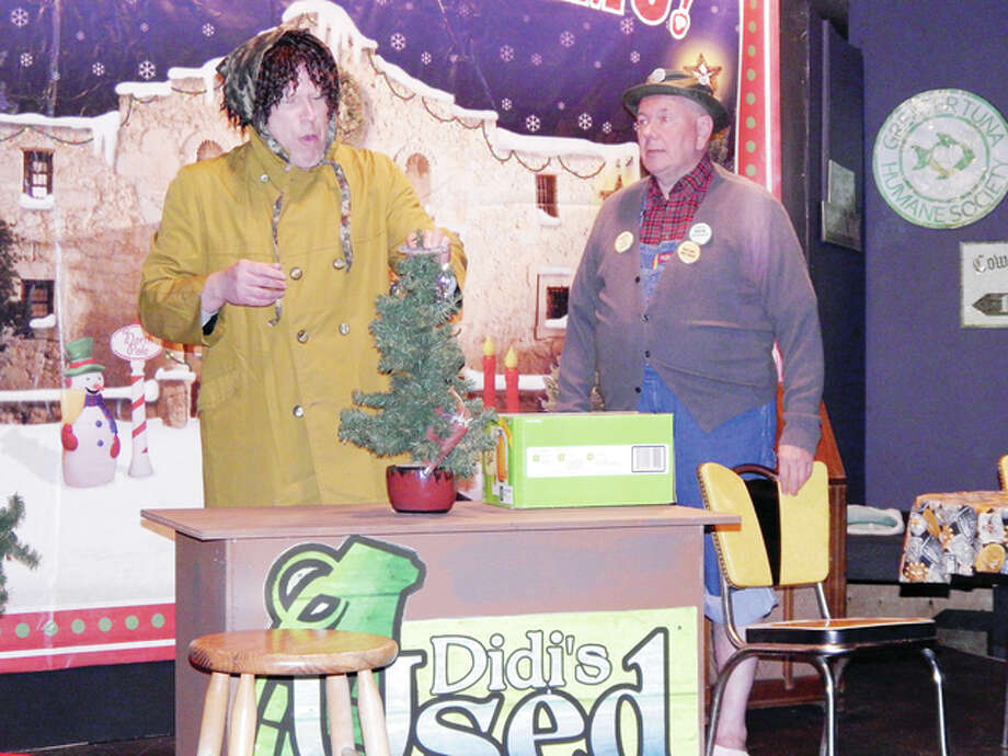 "Darin Harms (left) and Rich McCoy rehearse a scene from ""Tuna Christmas,"" a two-man comedy about Christmas in the ""third smallest"" town in Texas. Photo: Angela Bauer 