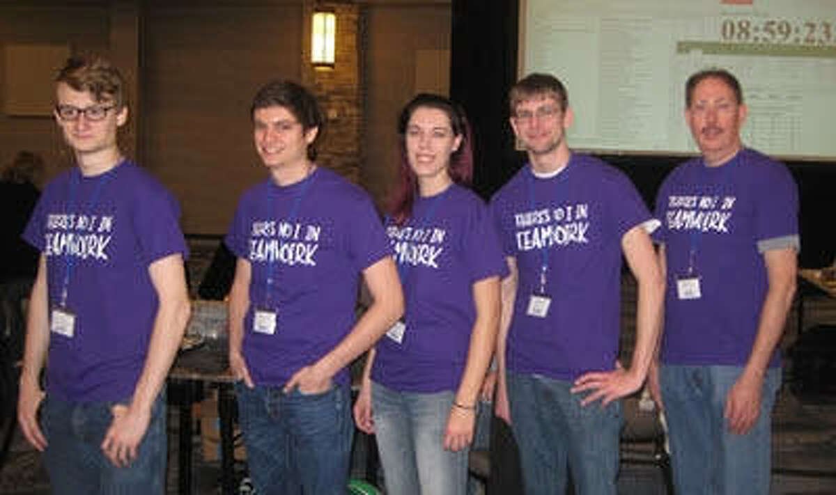 SIUE's team, from left: St. Louis native Oren Pincock; Scott Thompson, of Florissant, Mo.; Lydia Klaus, of Edwardsville; and Sean Hovey, of Springfield stand alongside faculty advisor Dr. George Engel.