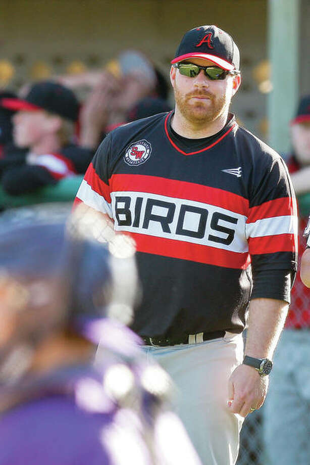 Alton coach Todd Haug's Redbirds dropped a 5-1 Southwestern Conference decision to Belleville West Thursday at Alton High. Alton is 10-5 overall and 1-5 in the SWC. Haug is shown in a 2015 file photo. Photo: Telegraph File Photo