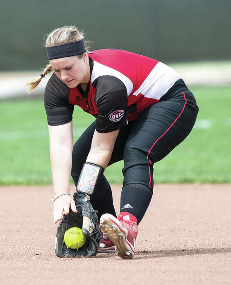 SIUE shortstop Sarah Lopesilvero fields a groundball during the Cougars' doubleheader sweep of Southeast Missouri on Friday at Cougar Field in Edwardsville. Photo: SIUE Athletics