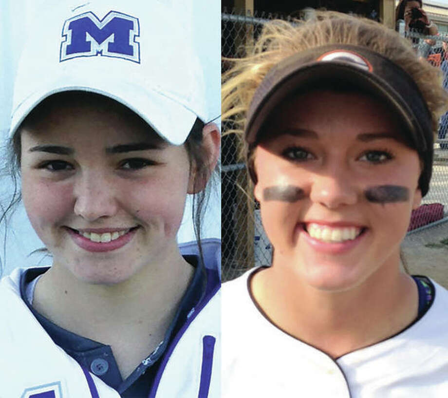 Marquette's Meghan Schorman (left) and Gillespie's Addison Bryant dueled through nine scoreless innings Saturday in Gillespie.