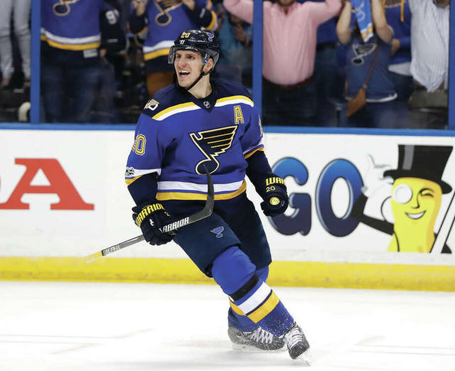The Blues' Alexander Steen celebrates after a goal by teammate Jaden Schwartz during the second period in Game 3 of their NHL first-round playoff series against Minnesota on Sunday in St. Louis. Photo: Associated Press