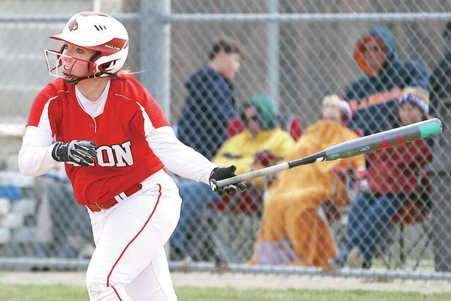 Alton's Tomi Dublo had a hit and an RBI in her team's 4-1 victory over Calhoun Monday. Photo: Billy Hurst | For The Telegraph