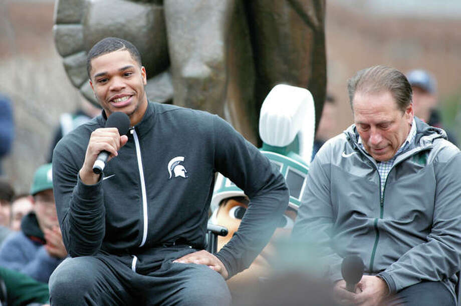Michigan State's Miles Bridges, left, speaks as coach Tom Izzo, right, listens during last week in East Lansing, Mich. Bridges, a 6-foot-7 forward from Flint, Mich., announced he is returning for his sophomore season. Photo: AP