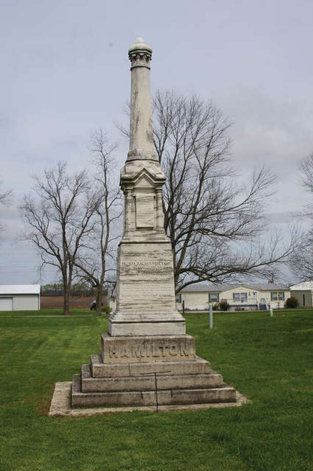 The monument to Silas Hamilton, gifted by former slave, George Washington. Photo: Eugene Jones Baldwin/For The Telegraph