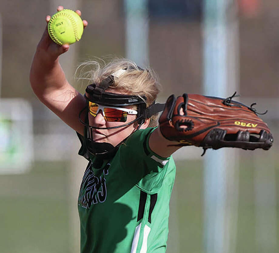 Carrollton's Emmie Struble, on her 18th birthday Tuesday, pitched the Hawks to a 10-3 WIVC softball victory over the North Greene Spartans in White Hall. Photo: Dennis Mathes | Journal-Courier