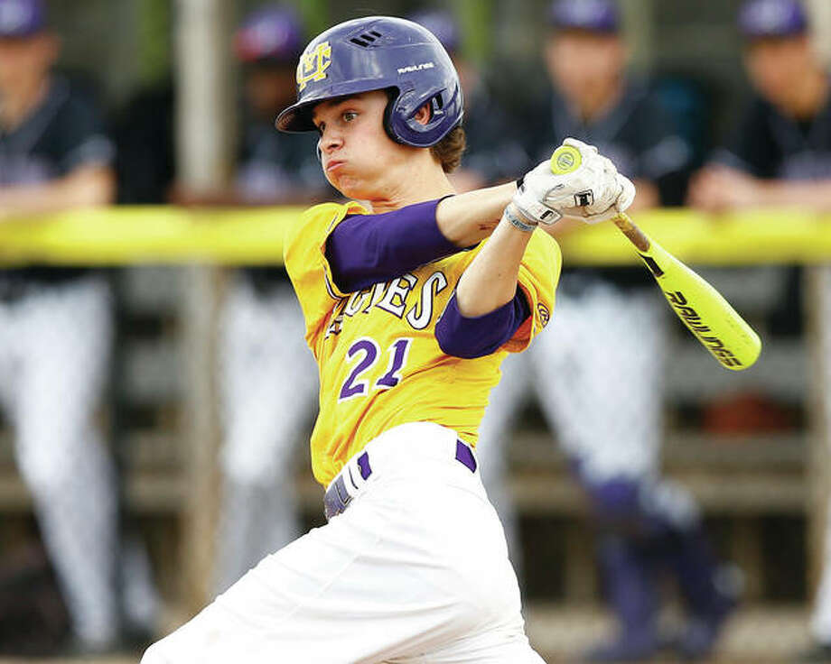 Konnar Loewen, shown hitting a single in a MVC game against Mascoutah on April 10 in Bethalto, and the Civic Memorial baseball team picked up a key Valley victory Wednesday in Waterloo. Photo: Billy Hurst / For The Telegraph