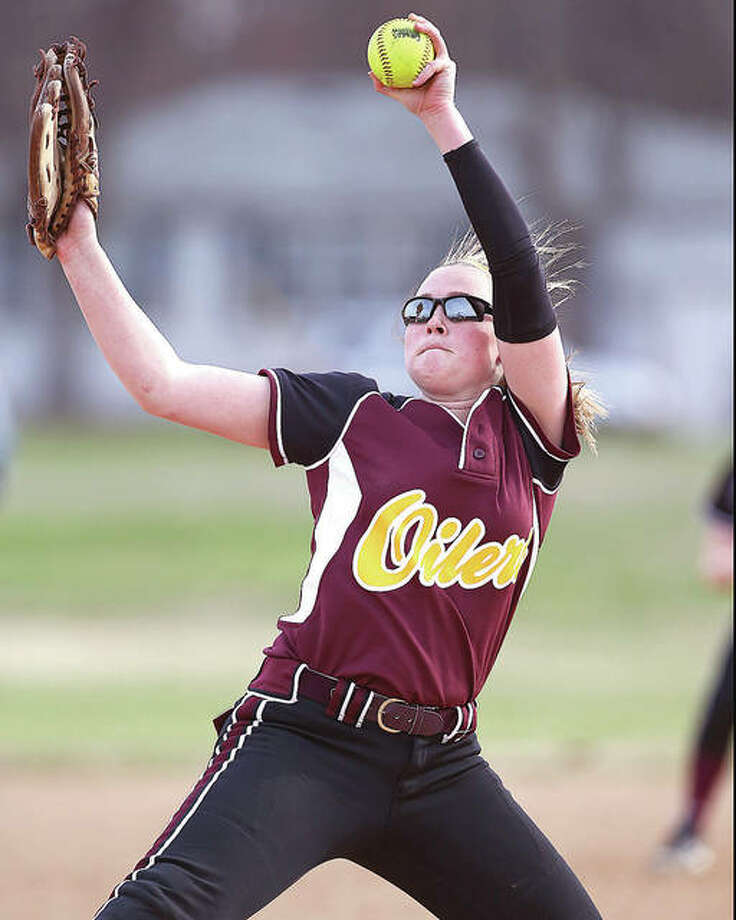 EA-WR's s Morgan Moxey, shown pitching in a game last season, struck out 12 in a one-hit shutout at Staunton on Thursday. Photo: Billy Hurst File Photo | For The Telegraph
