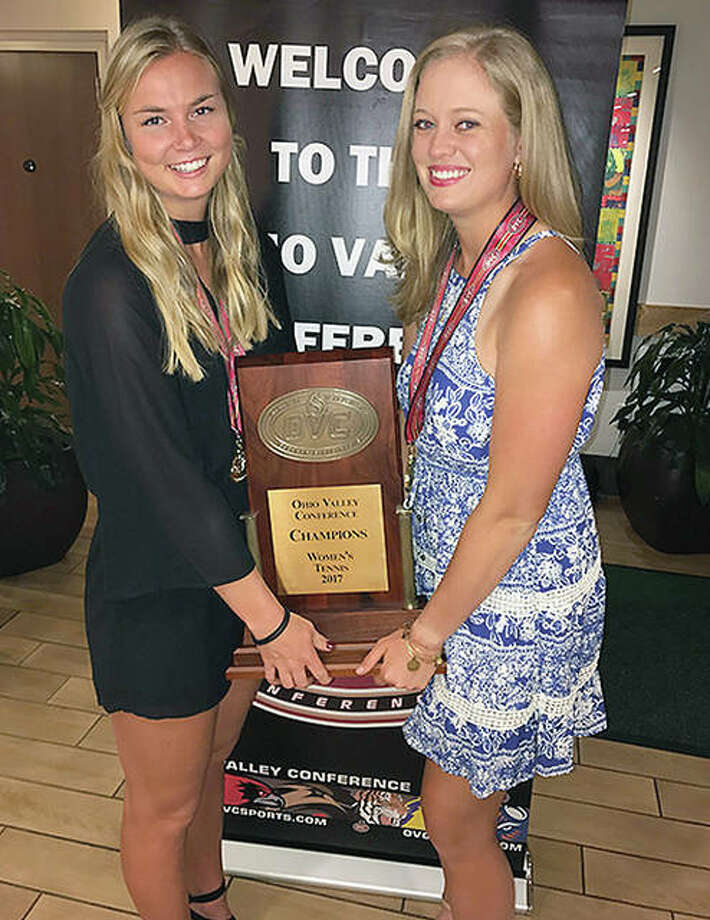SIUE tennis players Lexi Aranda, right, and Mia Frogner have earned first team All-Ohio Valley Conference honors for their performances during the regular season. Photo: SIUE Athletics