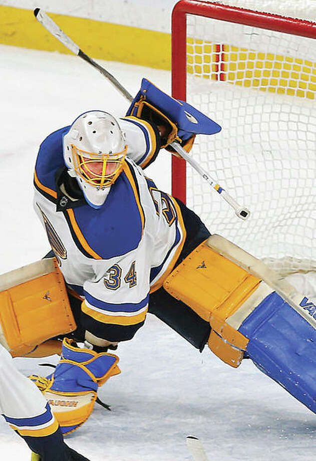 Blues goalie Jake Allen's play has helped the Blues get within a win of ousting the Minnesota wild from the first round of the NHL playoffs. Photo: AP