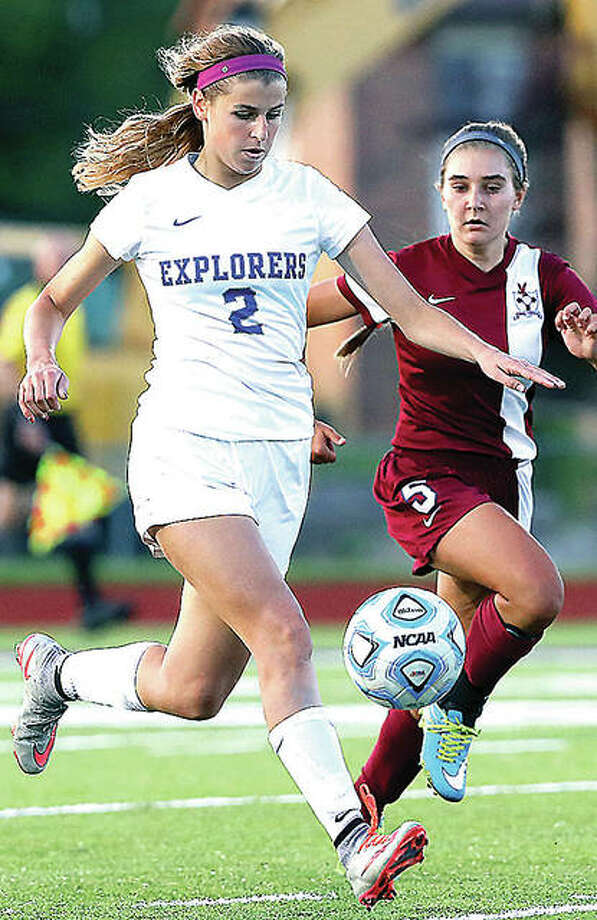 Marquette's Annabelle Copeland scored a goal in her team's 4-0 win over Providence Catholic Friday night in the Sacred Heart-Griffin Cyclone Invite. Photo: Billy Hurst File Photo | For The Telegraph