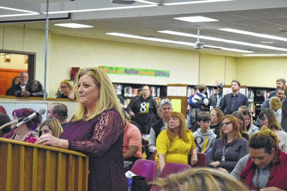 Eight Points School Leader Bridget English presents data that supports that 8 Points Charter School has increased the academic performance of their students, as well as fulfilled other contractual obligations. Photo: Samantha McDaniel-Ogletree | Journal-Courier