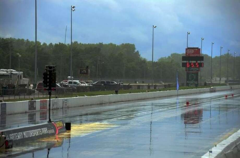 Friday's rain and the forecast for more for the rest of the weekend has forced cancellations at Gateway Motorsports Park's Dragplex. Photo: File Photo