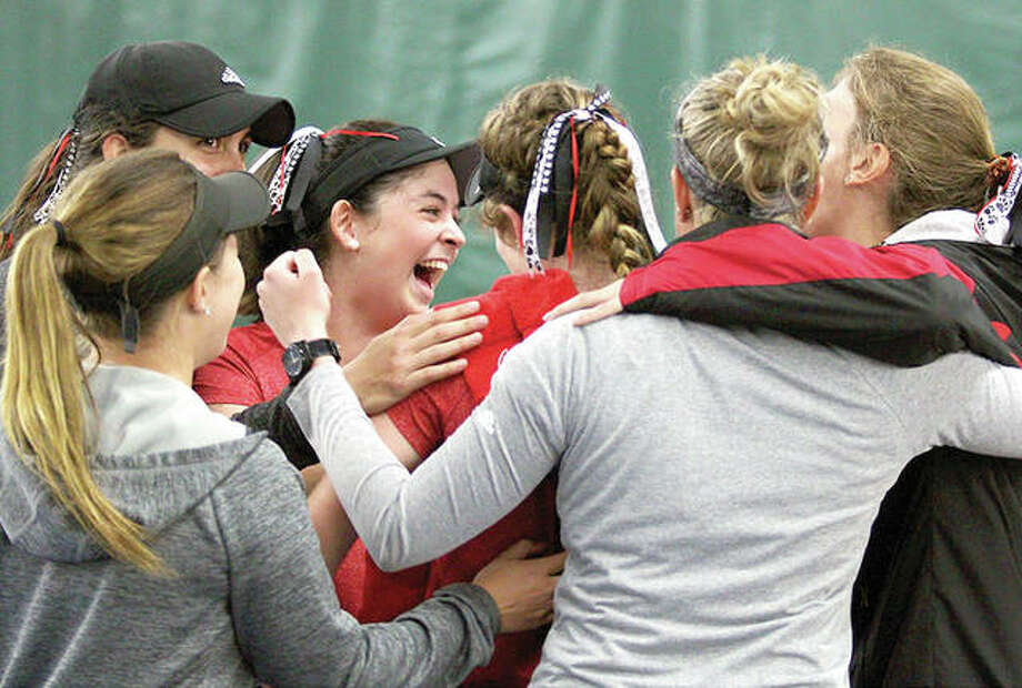 The SIUE women's tennis team, shown celebrating a win earlier this season, learned Tuesday it will face No. 4 national seed Vanderbilt in the first round of the NCAA Tournament. Photo: SIUE Athletics