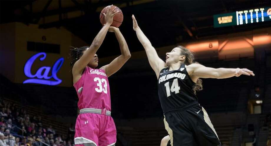 Cal's Jaelyn Brown (#33) shoots over Colorado's Kennedy Leonard (#14) during a Women's NCAA Pac-12 basketball game at Haas Pavilion in Berkeley, Calif. on Friday Feb,9, 2018. Photo: KLC Fotos