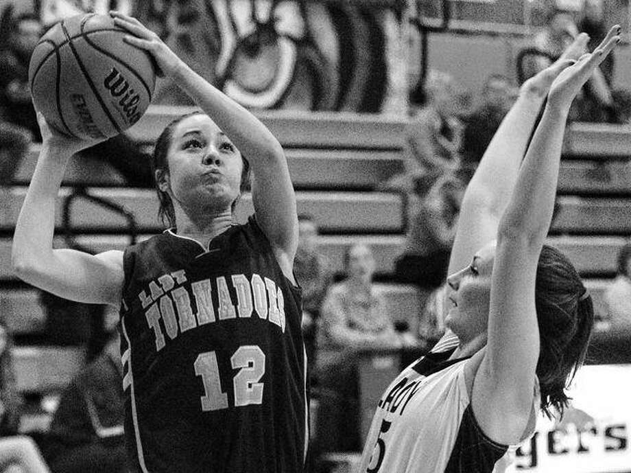 Griggsville-Perry's MiKayla Smith puts up a shot against Routt's Caroline Casler during a game at the Beardstown Lady Tiger Classic Tuesday afternoon. Photo: Dennis Mathes | Journal-Courier