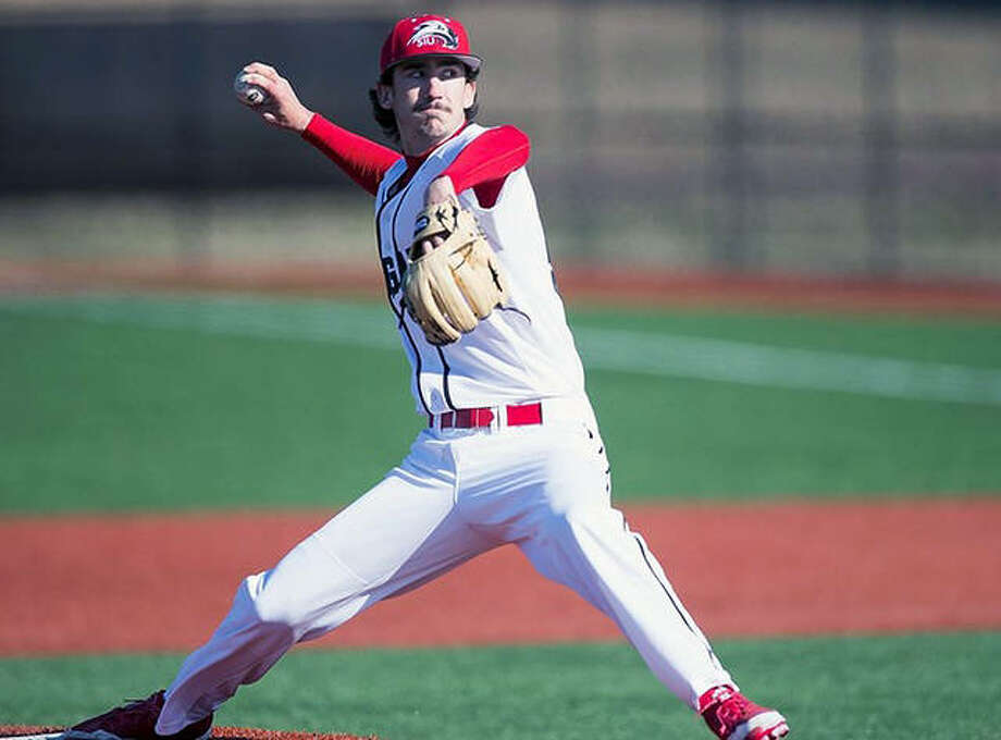 SIUE's Nelson Martz, a junior righthander from Roxana by way of Lewis and Clark Community College, pitched seven strong innings Friday and helped lead the Cougars past Austin Peay 7-4 in Clarksville, Tennessee. Photo: SIUE Athletics